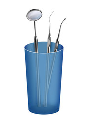 Blue glass with proffecional tooth tools on white background
