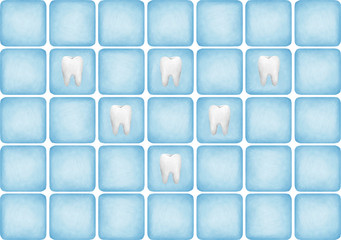Blue tiles wall teeths decorated