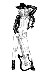 girl the musician with a guitar painted with ink by hand on a white background