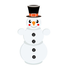 Funny Snowman on isolated white background. Vector illustration
