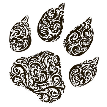 The trace, the imprint of the beast. Design for tattoo, logo, print, floral pattern, fantasy style .Vector illustration.