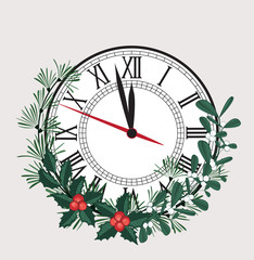Happy New Year, vector illustration Christmas background with clock showing year. Decoration of pine and mistletoe