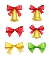 Watercolor christmas bells and gift bows