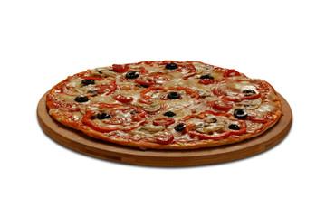Pizza capricciosa. On white background