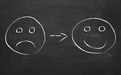 from sad to happy on blackboard