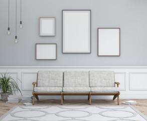 Interior design simple scene with frames. Modern scandinavian interior. 3d render studio.