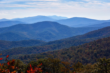View of mountains from an overlook in the North District of Shenandoah National Park (along Skyline Drive) in Virginia