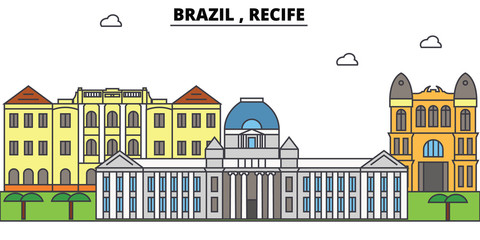 Brazil , Recife outline skyline, brazilian flat thin line icons, landmarks, illustrations. Brazil , Recife cityscape, brazilian vector travel city banner. Urban silhouette