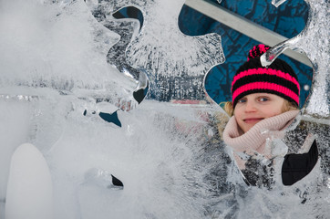 little child with ice sculptures