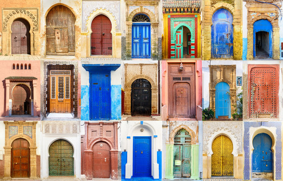 Collage of Moroccan entry door