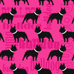 Bulldog stylish seamless pattern