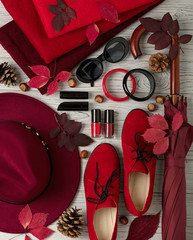Fashion trend autumn winter. Clothing, shoes and accessories of different shades of red and crimson.