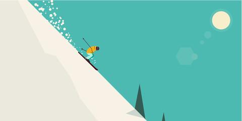 Лыжник в горах.  Skier in the mountains