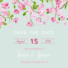 Wedding Invitation or Congratulation Card, Save the Date Blooming Spring and Summer Floral Frame. Watercolor Sakura Flowers for Bridal Shower Postcard in Vector