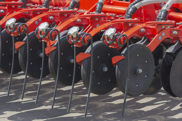 Agricultural machinery in agricultural fair close up. Industry