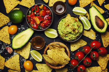 Tex-Mex Concept, Nachos, Guacamole, Salsa Sauce, Food Background, Top View