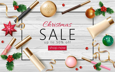 Christmas cosmetic sale 3d realistic web banner template. Female make up package New Year tree toy golden streamer frame poster ad special offer vector illustration