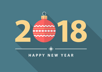 Happy new year 2018. Flat design style.