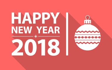 Happy new year 2018. Flat design style.