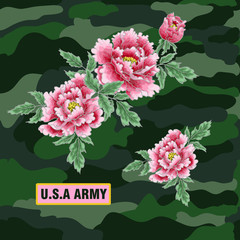 Peony flower of Japanese style. Patches for embroidery or textile print . Vector illustration
