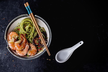 Green tea soba noodles with shrimp