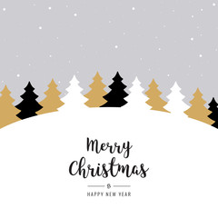 christmas winter landscape trees greeting text snowy background