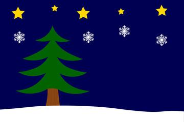 Weihnachtshintergrund mit Tannenbaum, Sternen und Schneeflocken