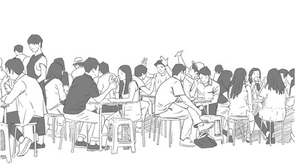 Illustration of people drinking and eating asian street food