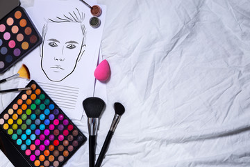 facechart makeup template for drawing cosmetics