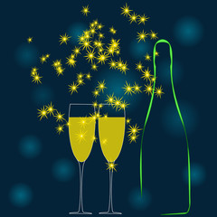 A champagne bottle and two glass of wine. Vector