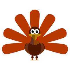 Turkey isolated on white background, Thanksgiving day, Vector illustration