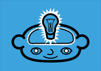 A head icon representing a bright idea. Vector illustration
