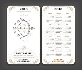 Sagittarius 2018 year zodiac calendar pocket size vertical layout Double side white color design style vector concept illustration