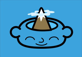 A head icon with a mountain peak inside. Vector illustration