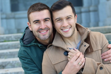 Happily married gay couple close up