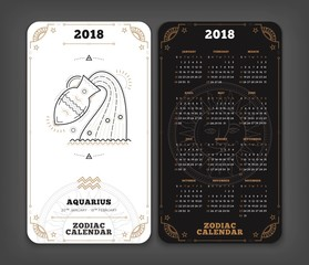 Aquarius 2018 year zodiac calendar pocket size vertical layout Double side black and white color design style vector concept illustration