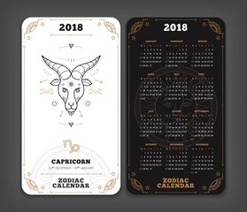 Capricorn 2018 year zodiac calendar pocket size vertical layout Double side black and white color design style vector concept illustration