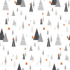 Christmas winter forest landscape with forest animals . seamless pattern . Abstract Vector illustration