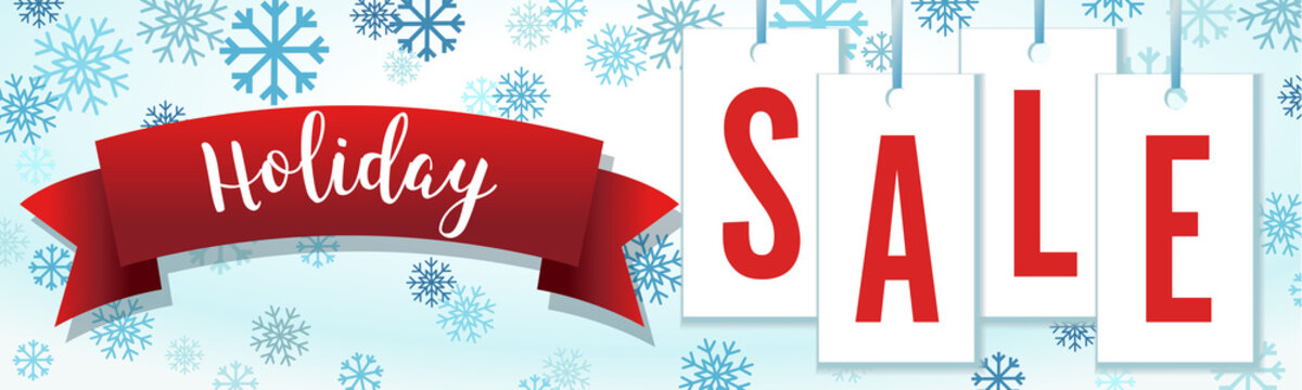 Blue and Red Hang Tag Snowflakes Holiday Sale Banner Vector Illustration