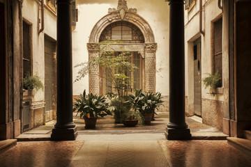 Atrium in old building in Verona city, Italy