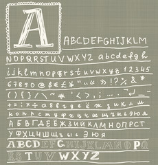 Hand drawn doodle abc, calligraphic font. Vector illustration