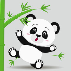 Panda falls from bamboo, in the style of a cartoon.
