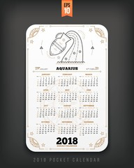 Aquarius 2018 year zodiac calendar pocket size vertical layout White color design style vector concept illustration