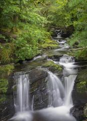 Pose longue d'une chute d'eau à Torc Mountain près du lac de Muckross, dans le parc de Killarney