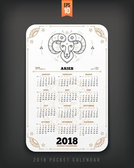 Aries 2018 year zodiac calendar pocket size vertical layout White color design style vector concept illustration