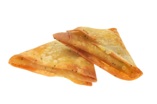 Two samosas isolated