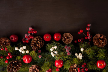 Frames of christmas decoration with copy space over the wooden background. Xmas cards, invitation, commercial concept