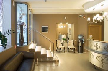 Spa salon, massage. Interior. Reception.