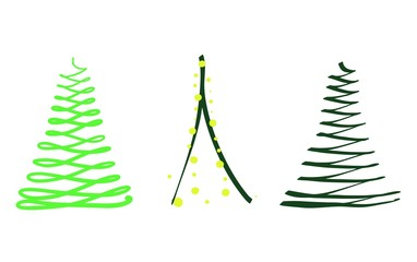 Vector silhouette of set of abstract green Christmas trees with decorative elements as yellow balls, cartoon isolated painted illustration on white background, high quality