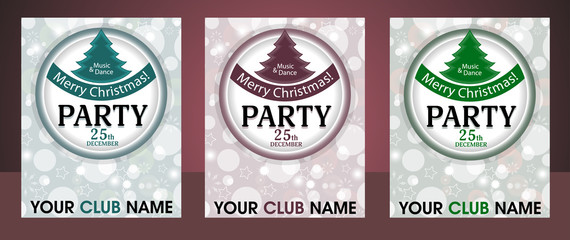 Set template Christmas party invitation background with circle and fur-tree. Vector